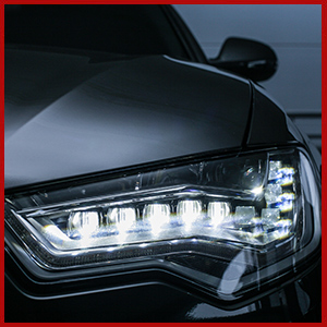 LED headlights on vehicle
